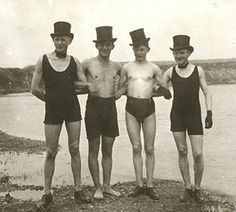 You see lots of vintage women in swimsuits but this one caught my eye because 1) they are men and 2) the are so very dapper! :)
