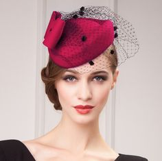 ed46b1b44df5a Fashion red pillbox hat with veil for women felt fascinator hats widding  wear