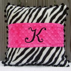 Pink Minky & Zebra Pillow
