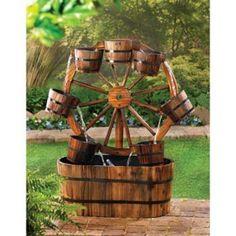 Wagon Wheel Garden Water Fountain w/ Electric Pump