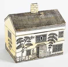 05-24-2016 cream and gray Antique sewing box in the form of a cottage