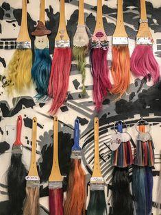 Hair colors  Brochas con cabello real como carta de color. Hair, Hair, Colour Chart, Letters, Atelier