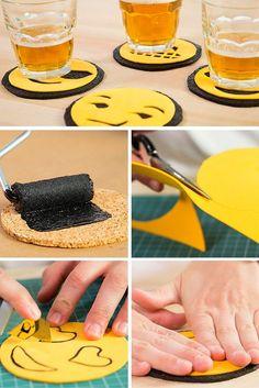 Posavasos de corcho y goma eva con diseño de emojis - http://xn--manualidadesparacumpleaos-voc.com/posavasos-de-corcho-y-goma-eva-con-diseno-de-emojis/