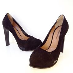 Costume National black suede platform pump. Size 37. Please call (949)715-0004 for inquiries.