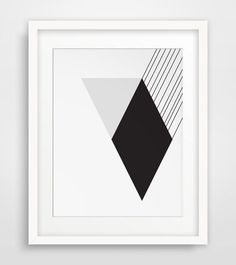 Modernist Black and White Wall Art Diamond by MelindaWoodDesigns #modernart #moderndecor #blackandwhite