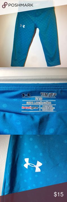 Girls Size Small Polka Dot Teal heat gear pants Last photo shows the correct color! Please feel free to ask any questions or make an offer, and as always THANK YOU for shopping my posh closet! Xoxo -Tish Under Armour Bottoms