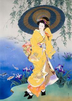 Resultado de imagen de geisha yellow kimono painting