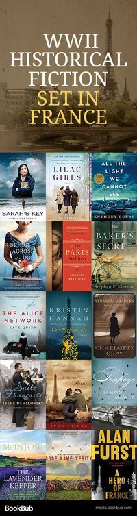 15 World War II Historical Fiction Books Set in France 15 World War 2 books worth reading. These historical fiction novels are worth adding to your reading list. Books And Tea, I Love Books, Book Club Books, Book Nerd, Book Lists, Good Books, Books To Read, My Books, Reading Lists