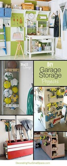 Organize Your Garage! With these garage storage tips, it becoems a mich easier job. So let's give these DIY garage storage ideas a try! Diy Garage Storage, Garage Organization, Organization Ideas, Storage Ideas, Organized Garage, Pegboard Garage, Hose Storage, Storage Racks, Storage Systems