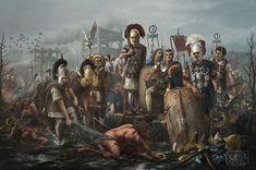 Изображено проигранное сражение Бодуогната (вождь кельтов племени нервиев из рода белгов) войскам Гая Юлия Цезаря.