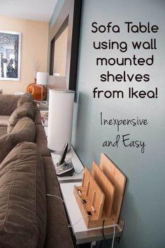50 IKEA Hacks - IKEA shelves turned sofa table hack from Supernova Wife.