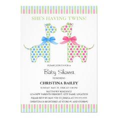 Twin Boy and Girl Giraffe Baby Shower Custom Announcements