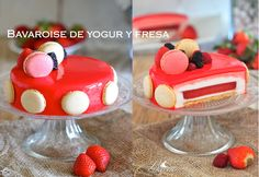 Bavarska jogurt, jagode i crvena glazura Cupcakes, Mousse Cake, Drip Cakes, Recipe For 4, Sweet Recipes, Panna Cotta, Cake Decorating, Bakery, Food And Drink