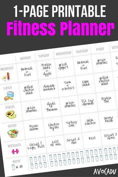 1-Page Printable Fitness Planner Pin