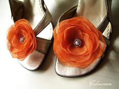 2 Spicy Burnt Orange Shoe Clips - Bridal Flowers Bridesmaids Outfits Autumn Wedding Reception. $19.00, via Etsy.