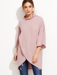 Blusa cruzada con cuello alto - rosa -Spanish SheIn(Sheinside) Sitio Móvil