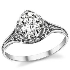 Featuring Solitaire, Etched, Petite and Antique Replica styles from our Engagement Rings collection. Model is available in 3 brilliant center stone options, 4 eco-friendly precious metals. Cheap Engagement Rings, All Gems, Forever One Moissanite, Reproduction, Moissanite Rings, Filigree Ring, Precious Metals, Custom Jewelry, Jewels