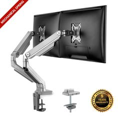 Dual Monitor Arms Fully Adjustable Desk Mount Full Stand 2 Monitors up to 24""