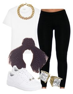 """White tee squad 03"" by trillest-queen ❤ liked on Polyvore featuring Yves Saint Laurent, Michael Kors, NIKE, women's clothing, women's fashion, women, female, woman, misses and juniors"
