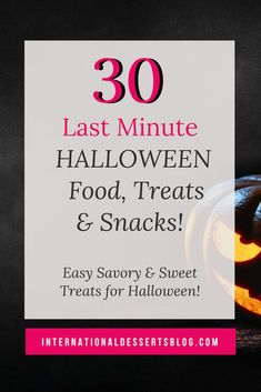 Looking for last minute Halloween food ideas? Here are 30 quick and easy, cute and scary ideas for snacks, treats, drinks, and desserts that both kids and adults will love. Perfect for your Halloween party! Easy Cookie Recipes, Easy Desserts, Dessert Recipes, Halloween Desserts, Halloween Treats, Halloween Party, White Chocolate Desserts, Dessert Blog, Simple Dessert