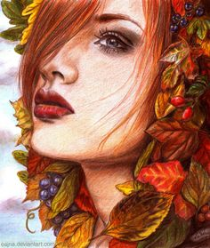 Ode to Autumn by eajna on deviantART ~ female beauty ~ traditional colored pencil drawing
