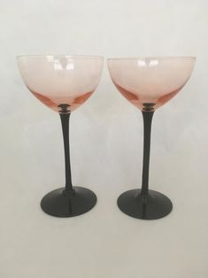 Mid Century Modern or Style Tall Cocktail Glasses, Pink Glass Bowl on Black Stem, Vintage Coupe / Champagne Glasses - Set of 2