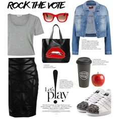 A fashion look from November 2016 by irixiketa featuring Miss Selfridge, 7 For All Mankind, Versace, adidas Originals, RED Valentino, Thierry Lasry, The Created...