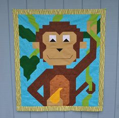 Monkey Baby Quilt Pattern in 3 sizes  PDF by CountedQuilts on Etsy, $9.00