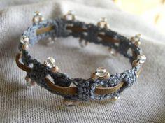 Beaded bracelet with leather weave. Free pattern from Chrochetology.net
