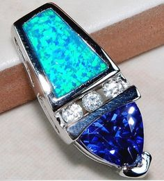 Beautiful blue sapphire and Austrian opal white topaz.  This one of a kind piece is only $23.00