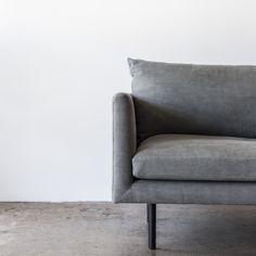 Detail of our Louis sofa in Dune Fabric colour gunmetal.  This stonewashed 100% cotton is machine washable and super-comphy.  #greysofa #minimaldesign #skandi #modernfurniture #australianmade #designerfurniture #australiandesign #masculinedesign #mancave #fabricsofa #greylounge #cmstudio