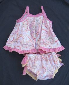 Paisley baby sundress with ruffle panties