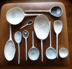 Slotted Ceramic Spoons by Suzanne Sullivan Ceramics