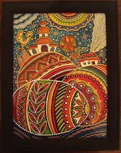 Ukrainian glass painting of pysanky.