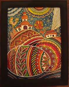 Ukrainian glass painting of pysanky.