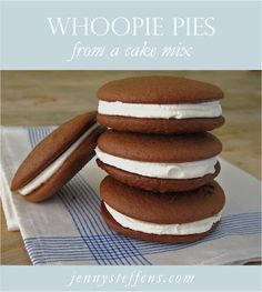 Jenny Steffens Hobick: Whoopie Pies | Whoopie Pies from a Cake Mix | Fluffy Cake Cookies with Buttercream Filling