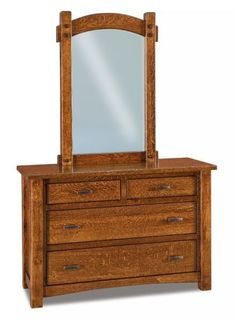 Amish Timbra 4-Drawer Dresser with Optional Beveled Mirror Exquisite solid wood storage for bedroom. Four drawers full of space. Customized for your bedroom in choice of wood and stain. Amish made bedroom furniture. #dresser #wooddresser
