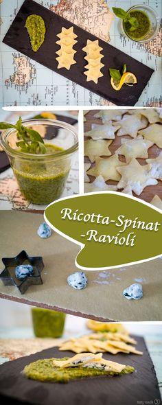 Selbstgemachte Ravioli mit frischem grünem Pesto - unschlagbar