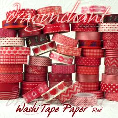 Paper Washi Masking Tape Adhesive Roll Decorative Card Craft Trim RED Collection | eBay