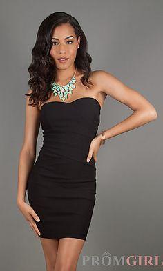 Short Strapless Black Sweetheart Dress at PromGirl.com