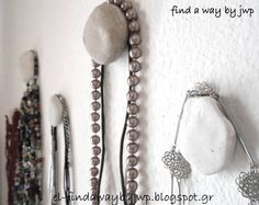 diy pebble hangers for jewelry, organizing