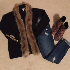 """""""How Could I Fur-get You"""" black sweater with Fur NWT Black sweater with faux fur trimmed out front Sweaters"""