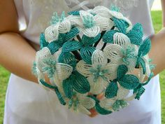 Teal Aqua and White French Beaded Flower Bridal by BeadedFleur, $175.00