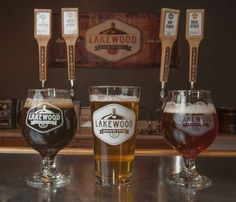 Lakewood Brewing Co.'s offerings include (from left) Temptress Stout, Rock Ryder American Rye and Hop Trapp Belgian IPA.