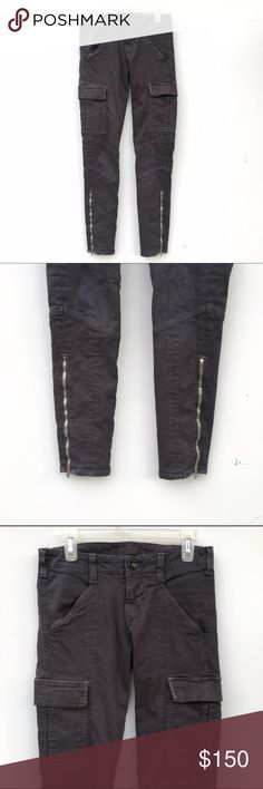 J Brand Cargo Pants Adorable JBrand cargo pants, with zippers on each pant leg towards the bottoms. Pockets on each side of the thigh as well. Currently being sold at Neiman Marcus for $228. J Brand Pants Skinny