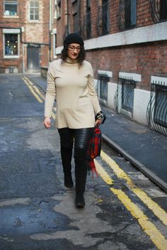 street style camel knit and black leather