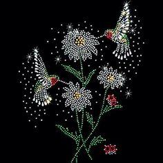 Rhinestone Rhinestuds Transfer Hummingbirds and Flowers 15411