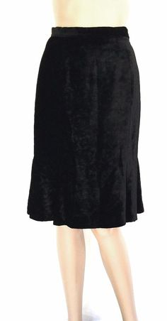 Fendi Black Velvet Knee Length Trumpet Skirt - Size 40 - US Size 6 - EUC #Fendi #trumpet