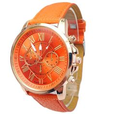 Baishitop Women Luxury Watch,Roman PU Leather,Numerals Analog Quartz Wrist Watch,Three Six-Pin (Orange). <b>Band Material:</b> PU Leather. <b>Designer Women's Watch:</b>Roman numerals analog quartz,wiht classic design,simple and decent style for women,girls,ladies. <b>As a Gift:</b>Good choice as couple watches or gifts. <b>Tasteful:</b>Luxruy,hot,fanshion,cheap,newest,stylish,star models,attractive styling,discount. <b>High Quality:</b>High quality movement for accurate time-keeping.