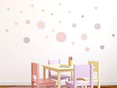 Great I love Wandtattoo WAS Kinderzimmer Wandsticker Set Kreise mit Muster f r